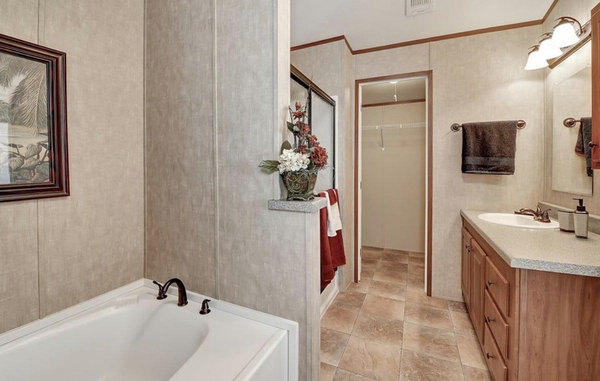Soaking tub in bathroom