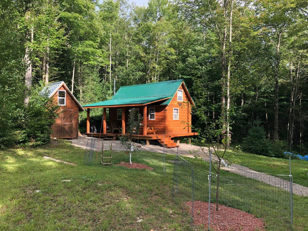 Cedar cabin with green roof