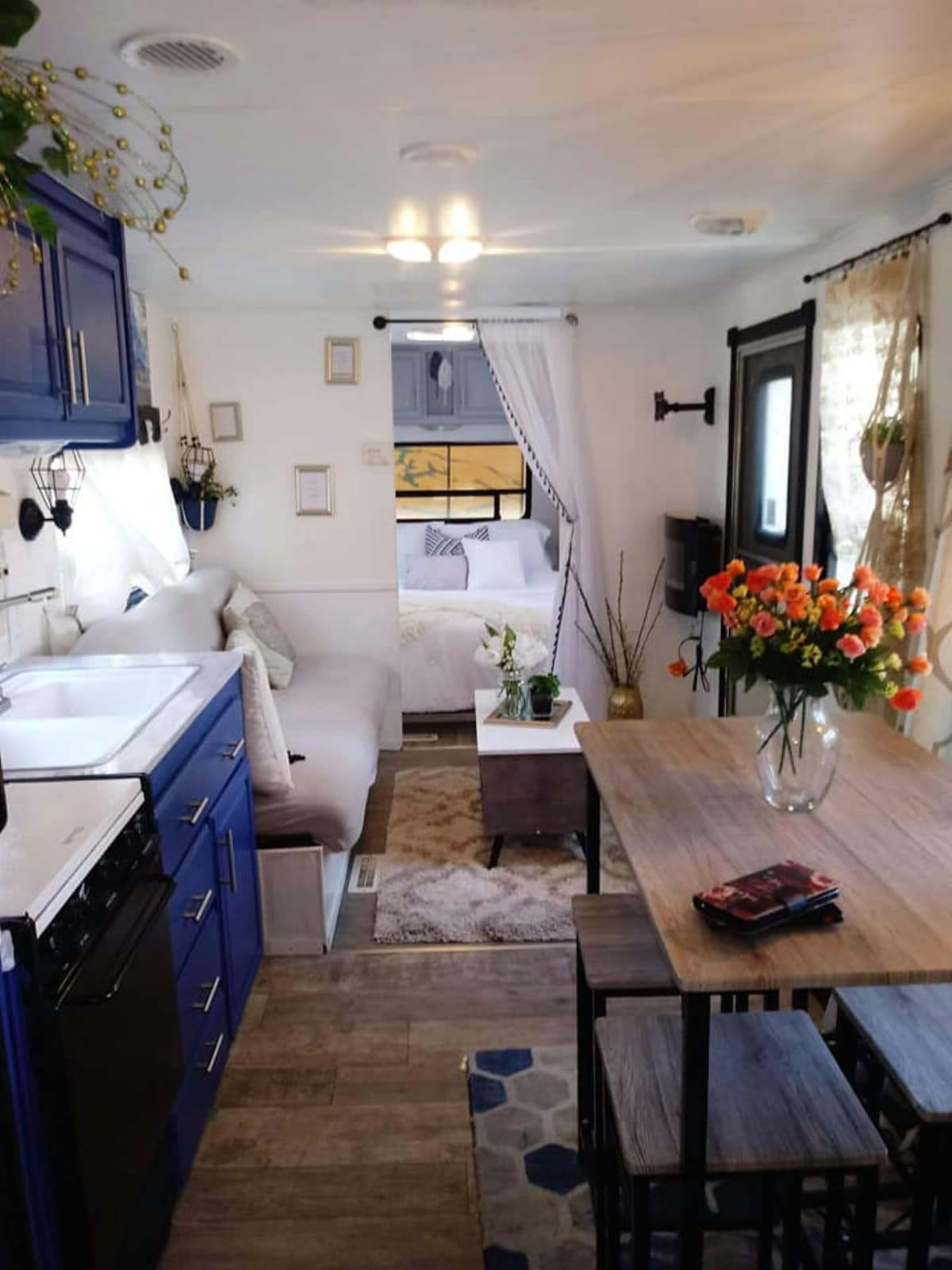 Living area and dining table of camper