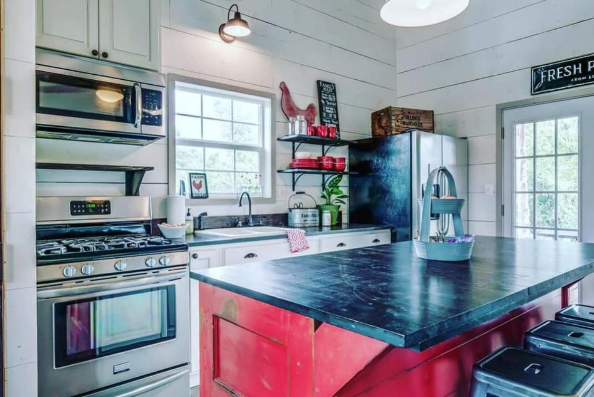 Red cottage kitchen