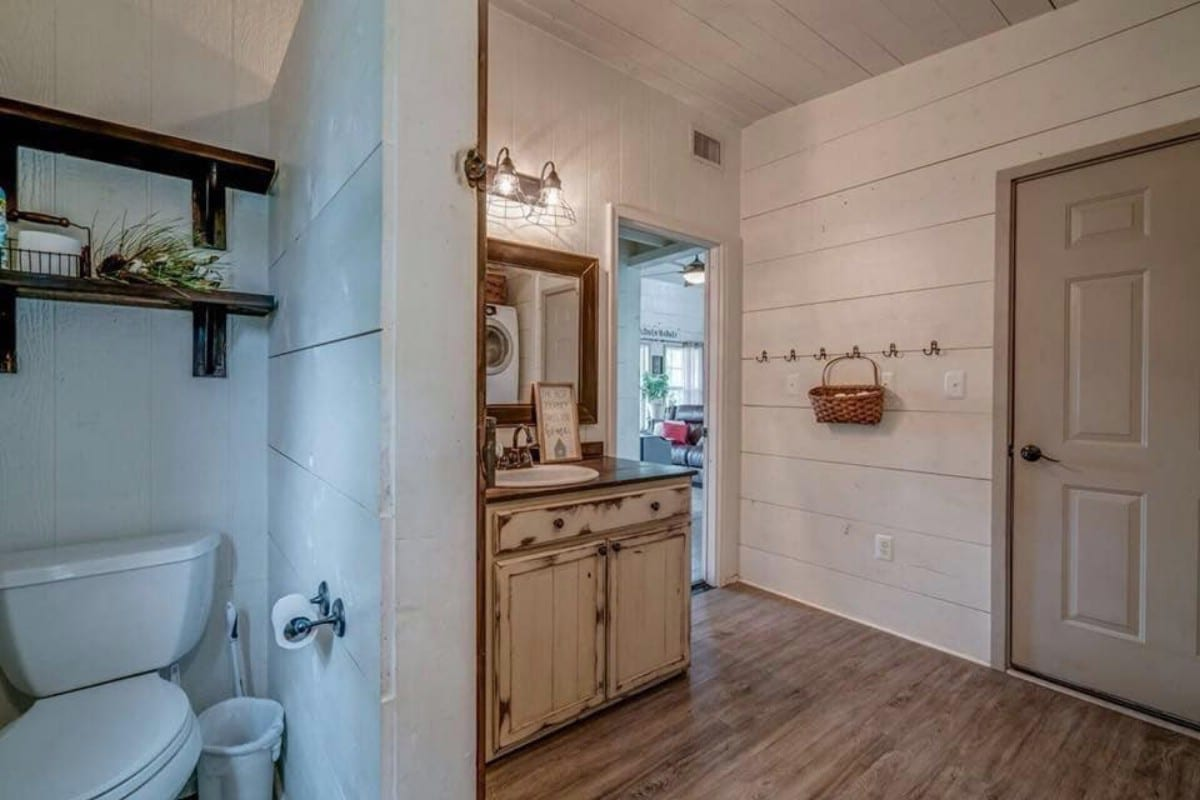 Shiplap wall bathroom