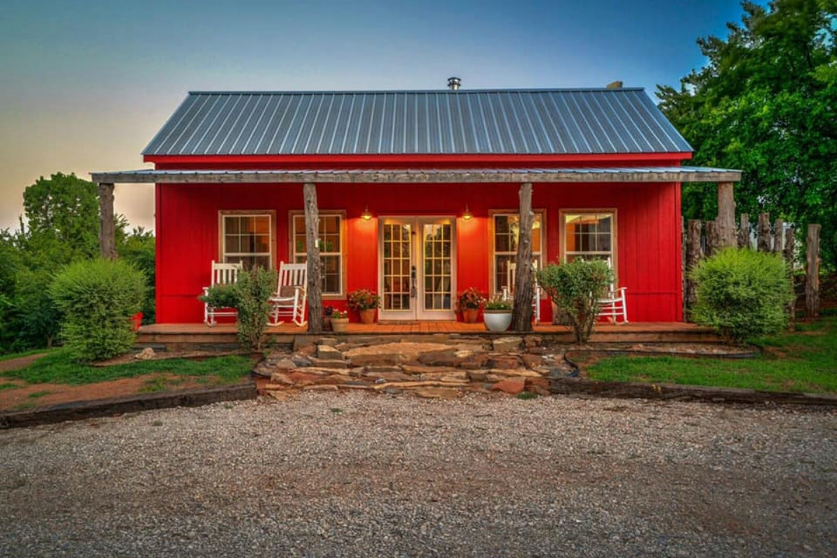 Red cottage front porch