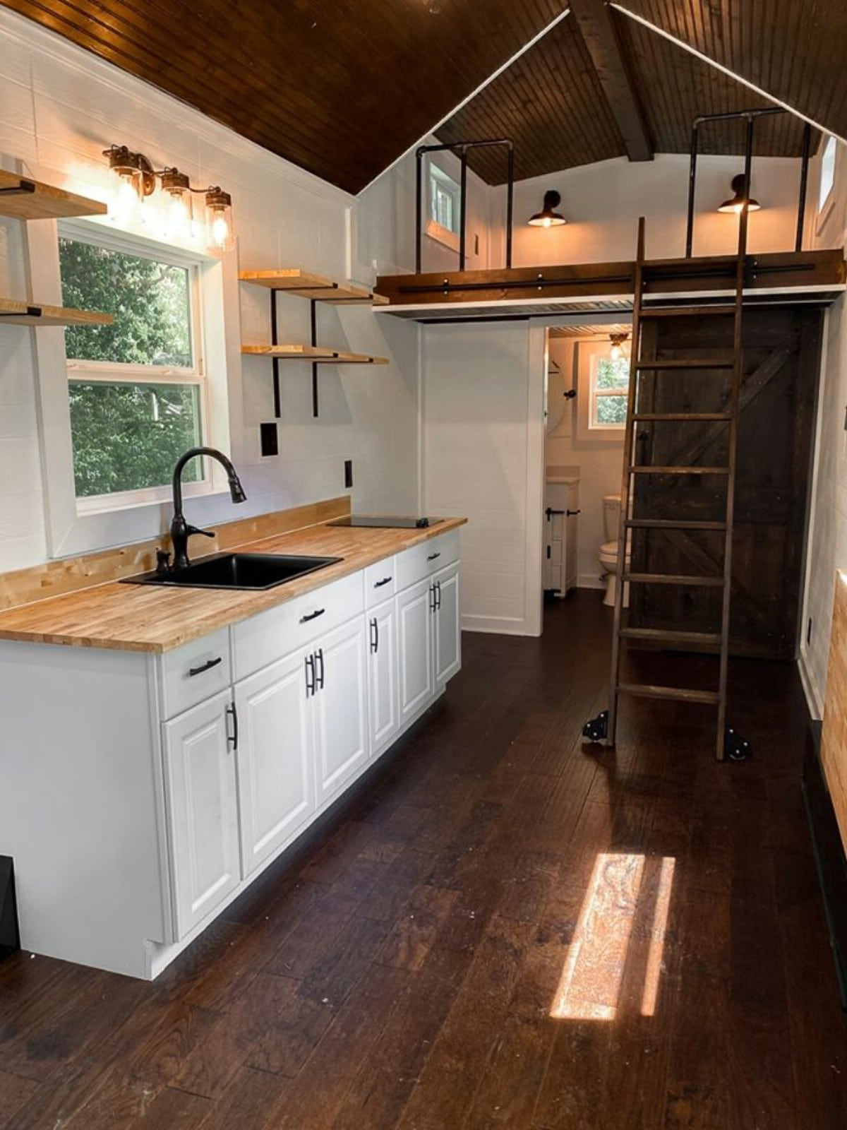 Large sink and kitchen in tiny house