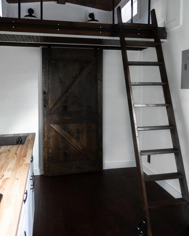 Ladder to tiny house loft