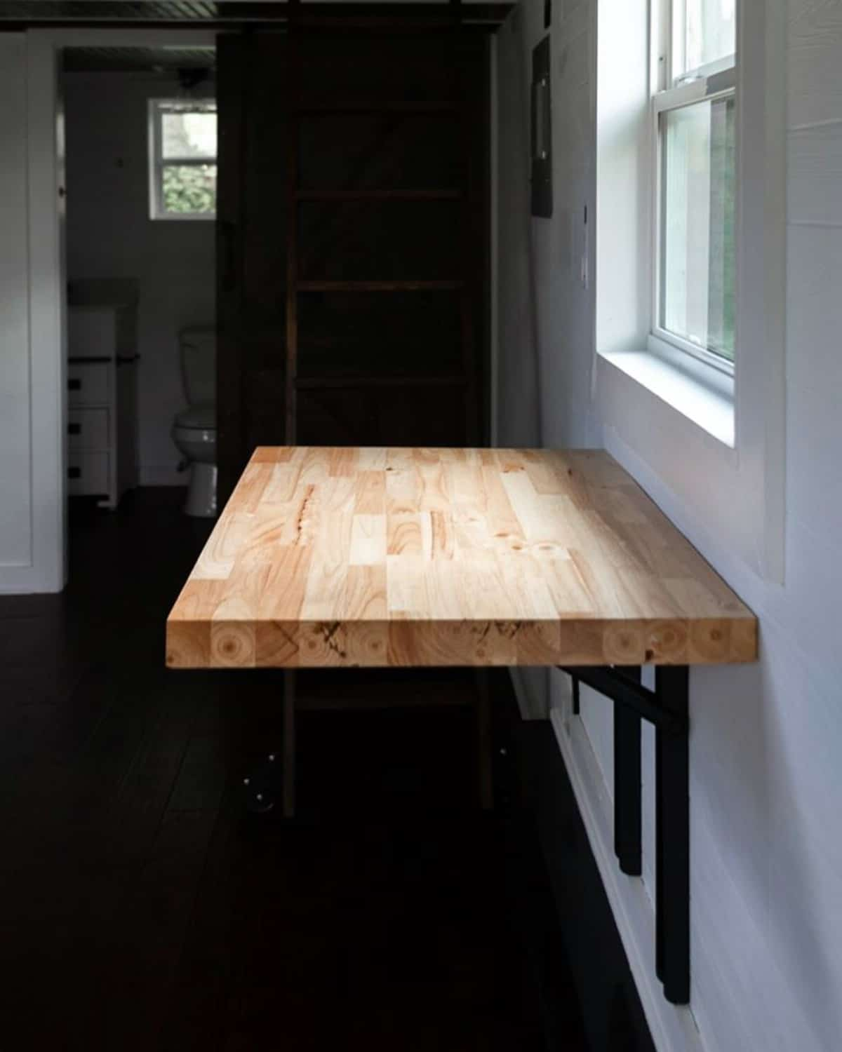 Butcher block hanging wall table