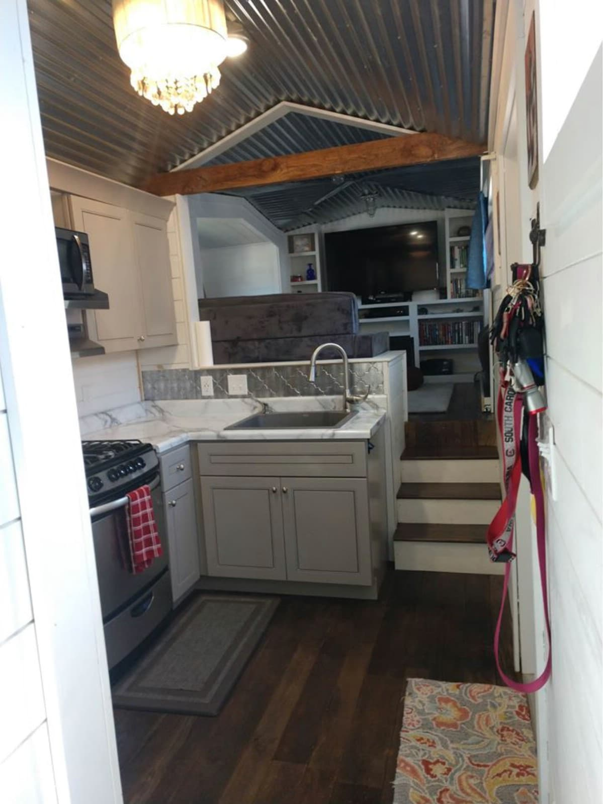 Furnished kitchen of tiny home