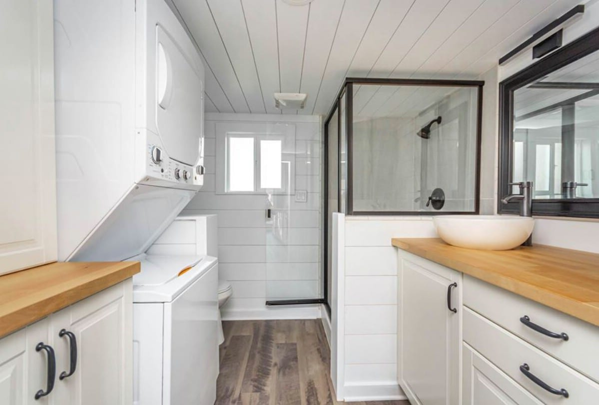 Large shower in tiny house
