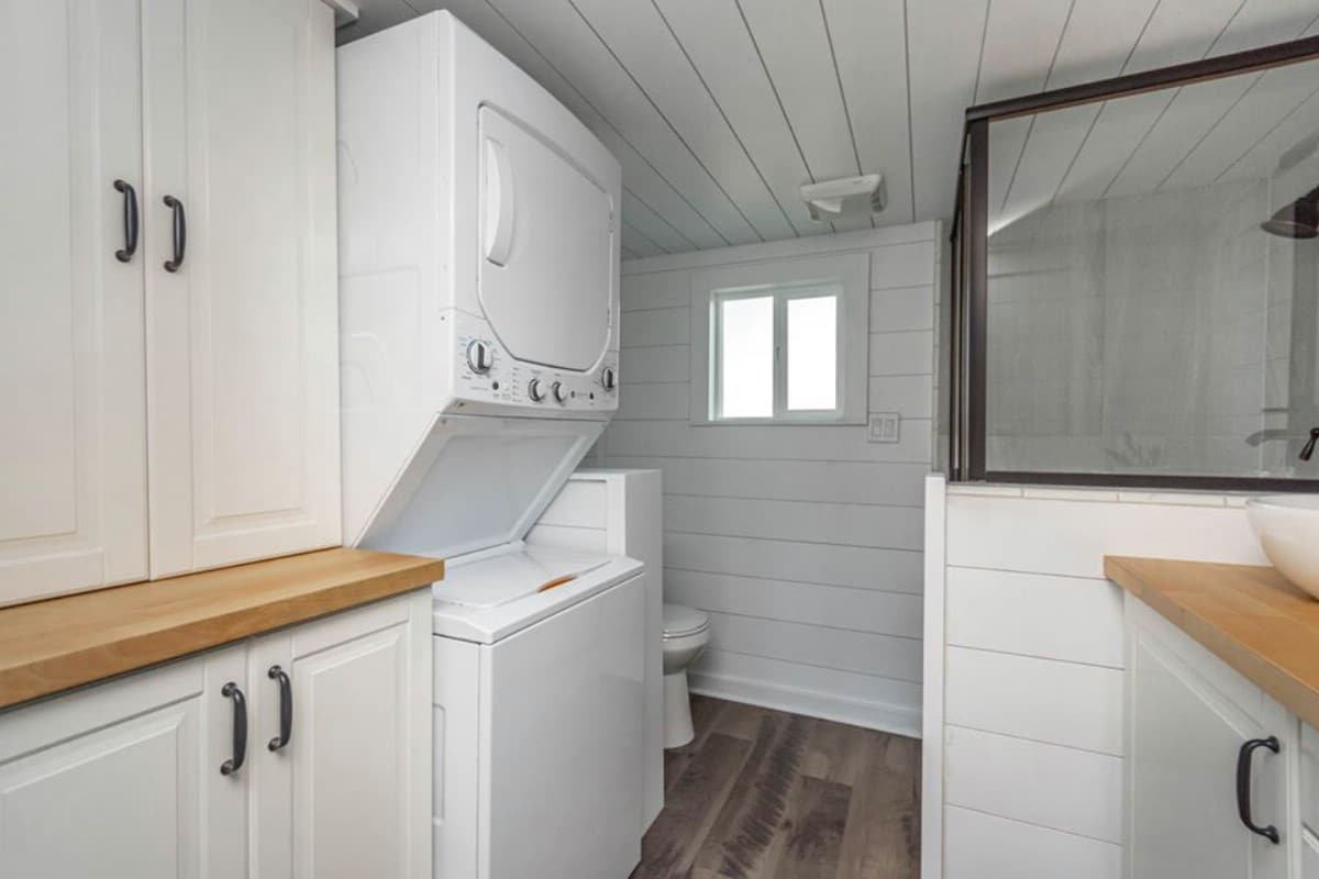 Stacked laundry in tiny house