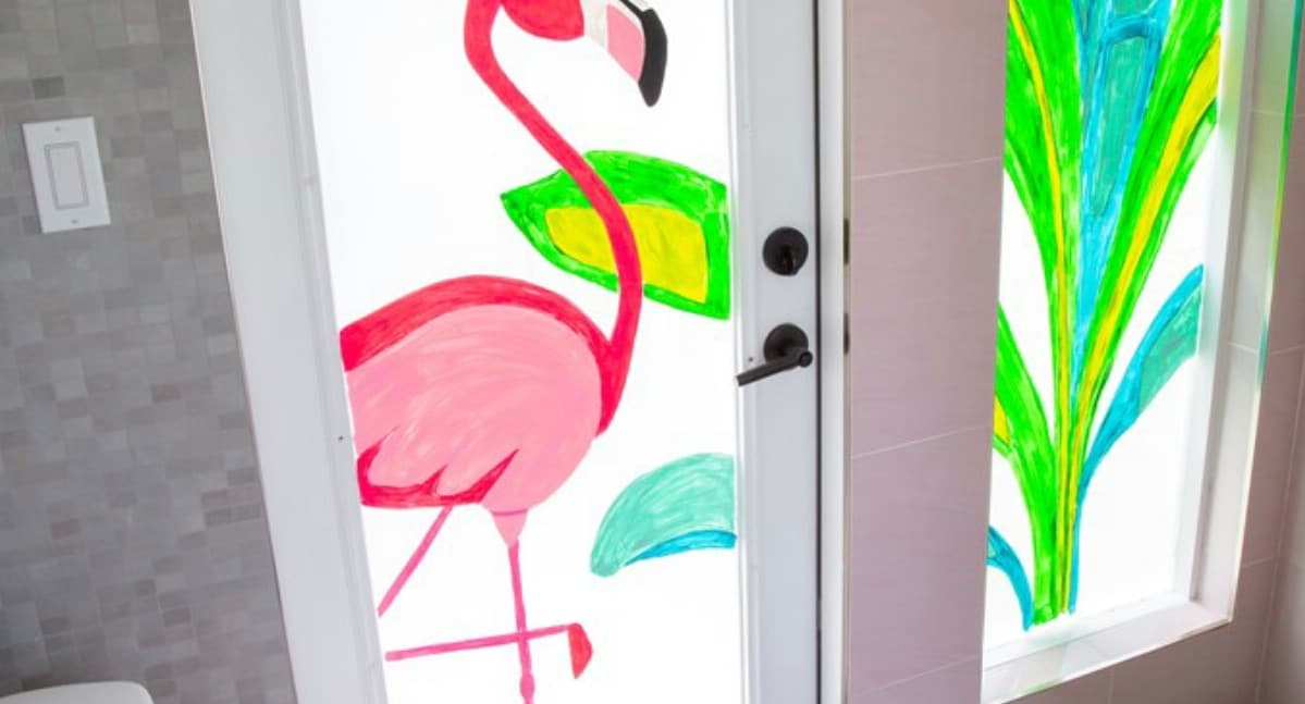 Flamingo painted window