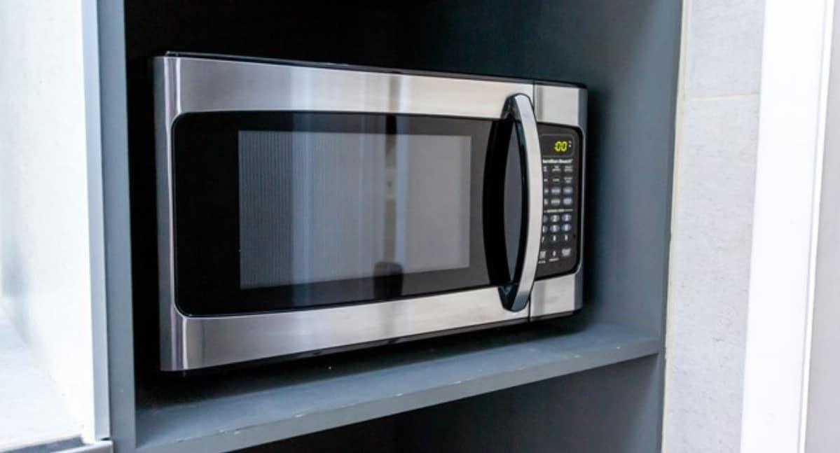 Microwave in shelf