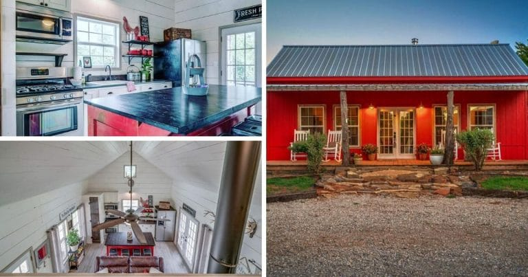 Red cottage tinyhouse collage