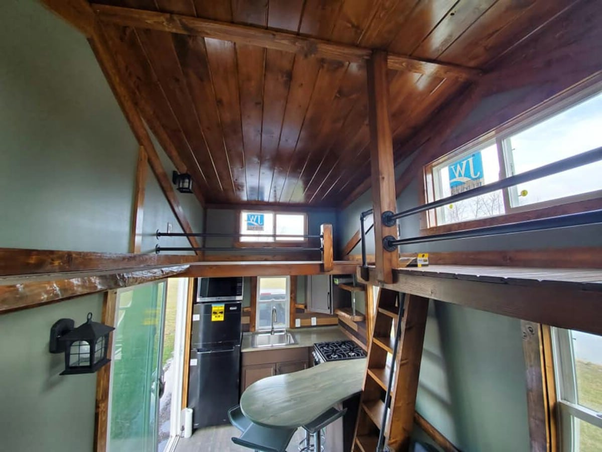 Loft above kitchen in tiny house