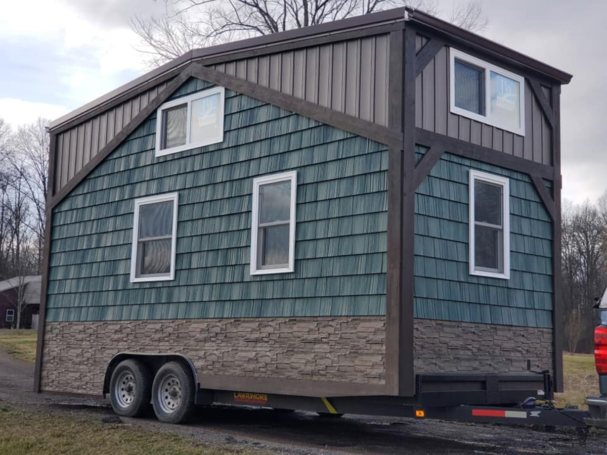 Woodland Escape blue and grey tiny house on wheels
