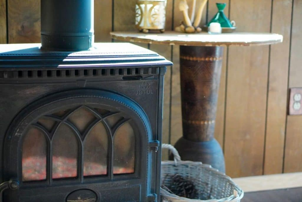 Wood stove in tiny home