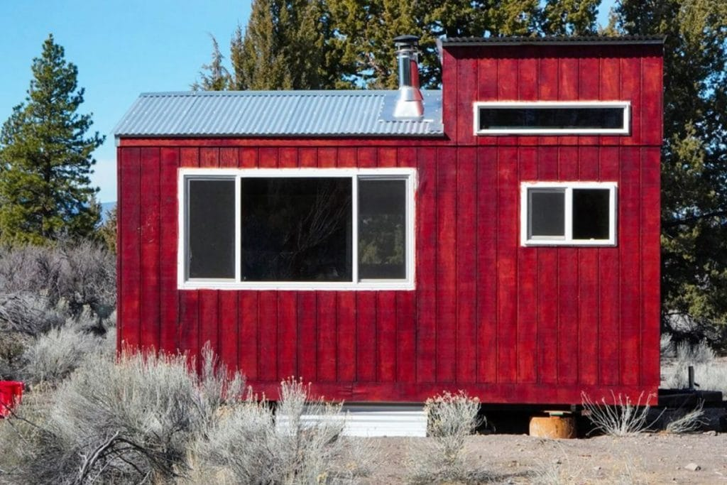 Back side of red tiny house