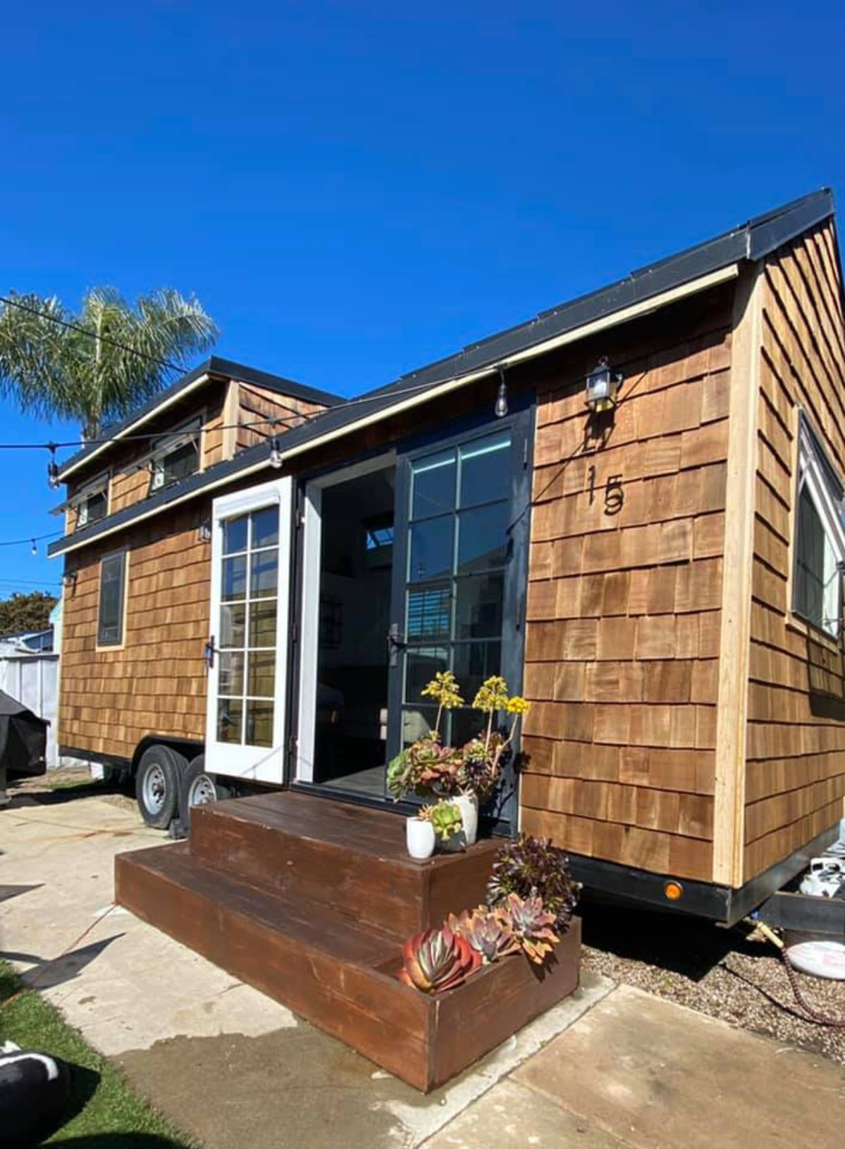 Cedar siding on tiny house
