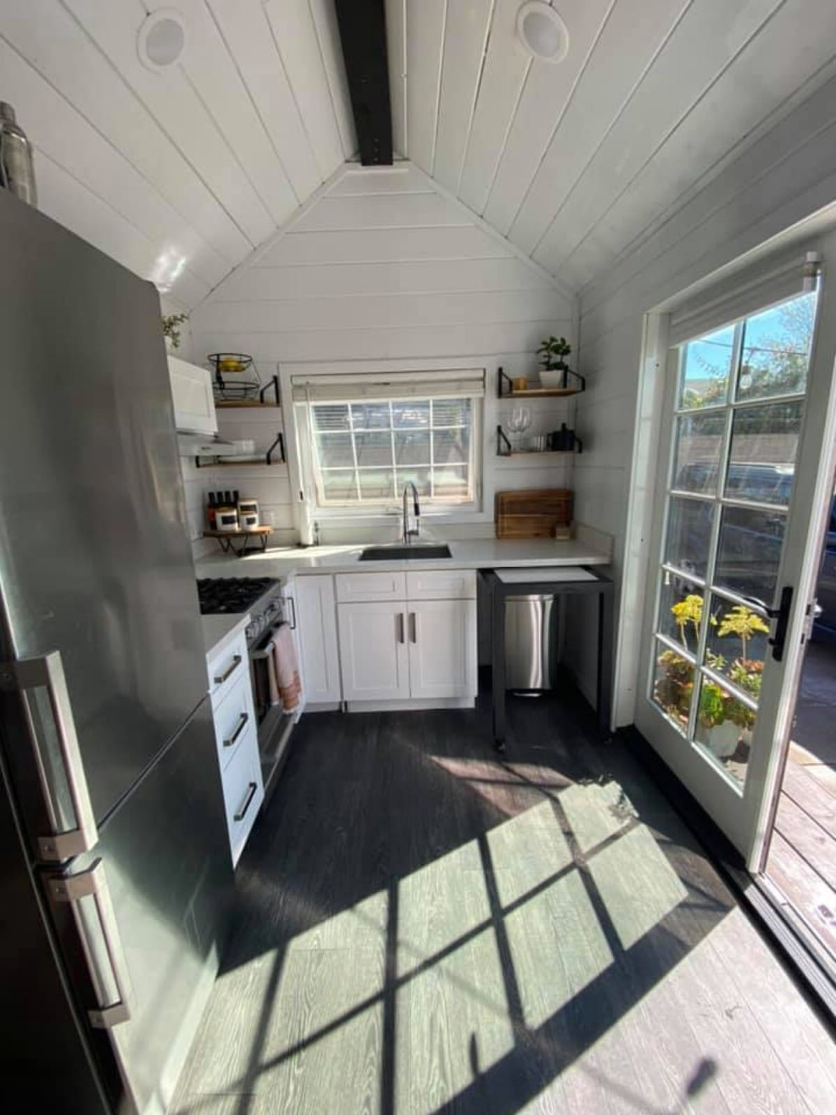 Kitchen window over sink in tiny home