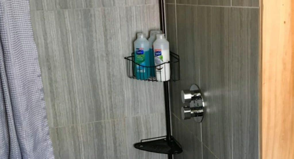 Shampoo bottles in shower