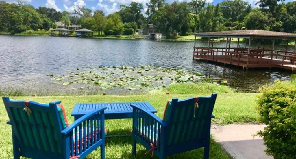 Teal lawn chairs in front of lake