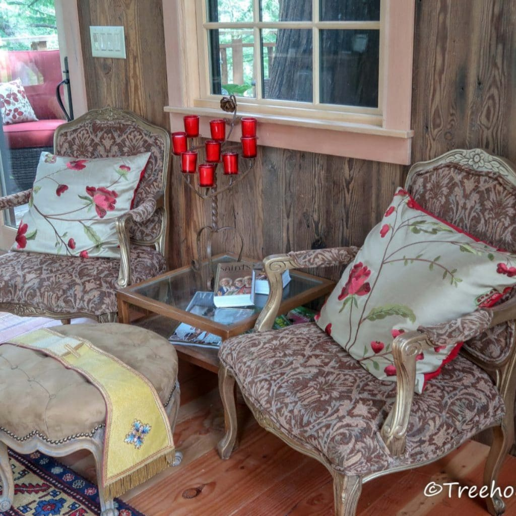 Rustic furniture in fairytale treehouse