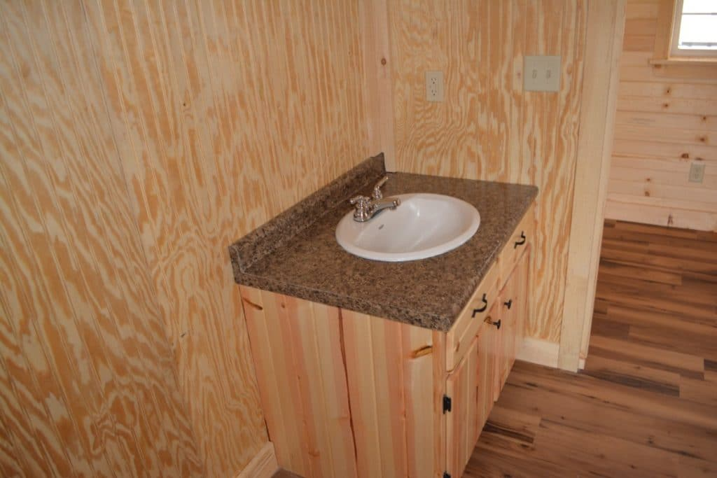 Log cabin bathroom sink
