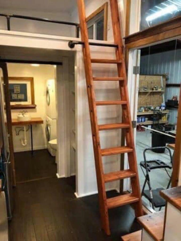 Wooden ladder to loft
