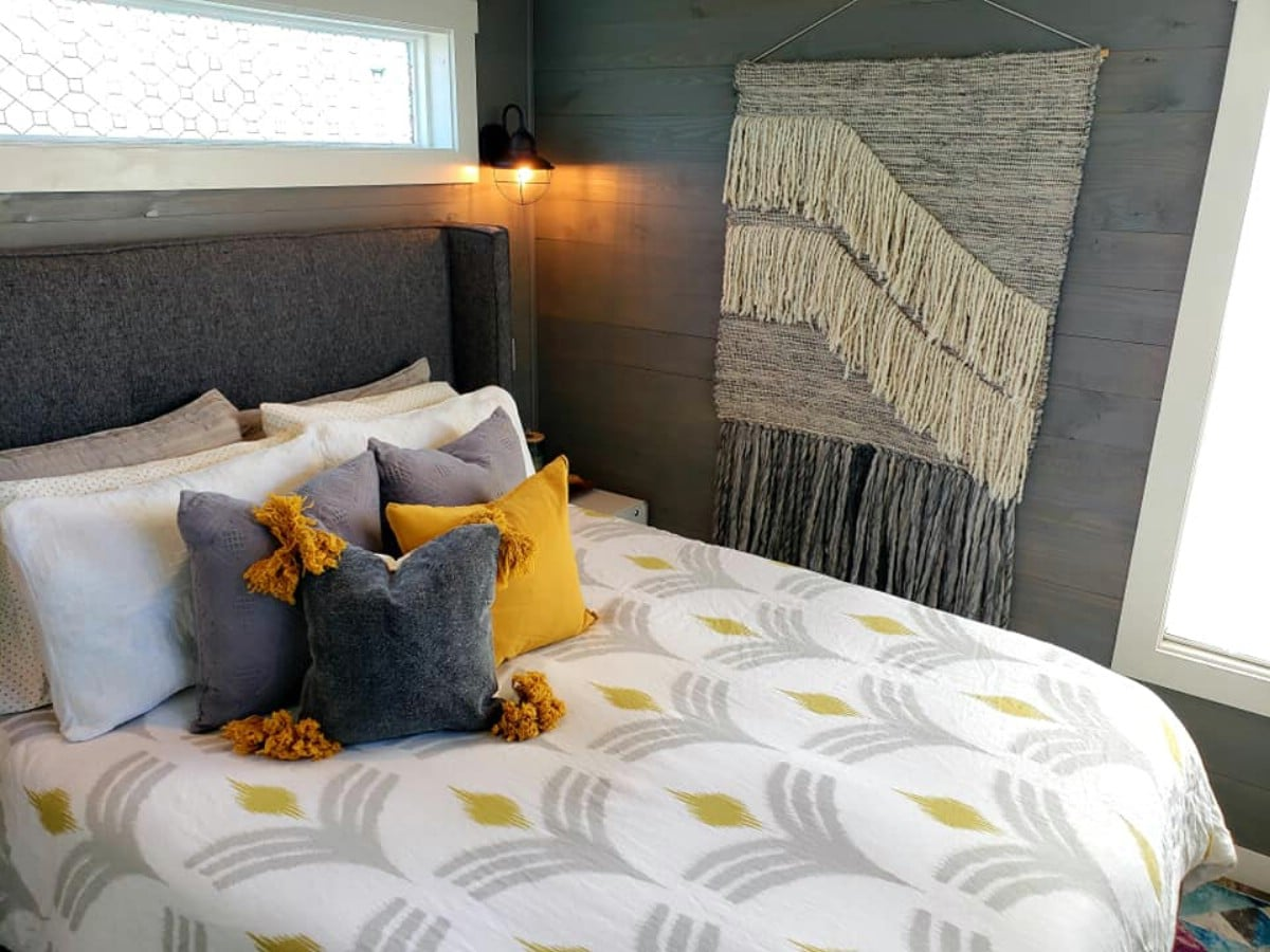 Bedroom with grey and yellow accents