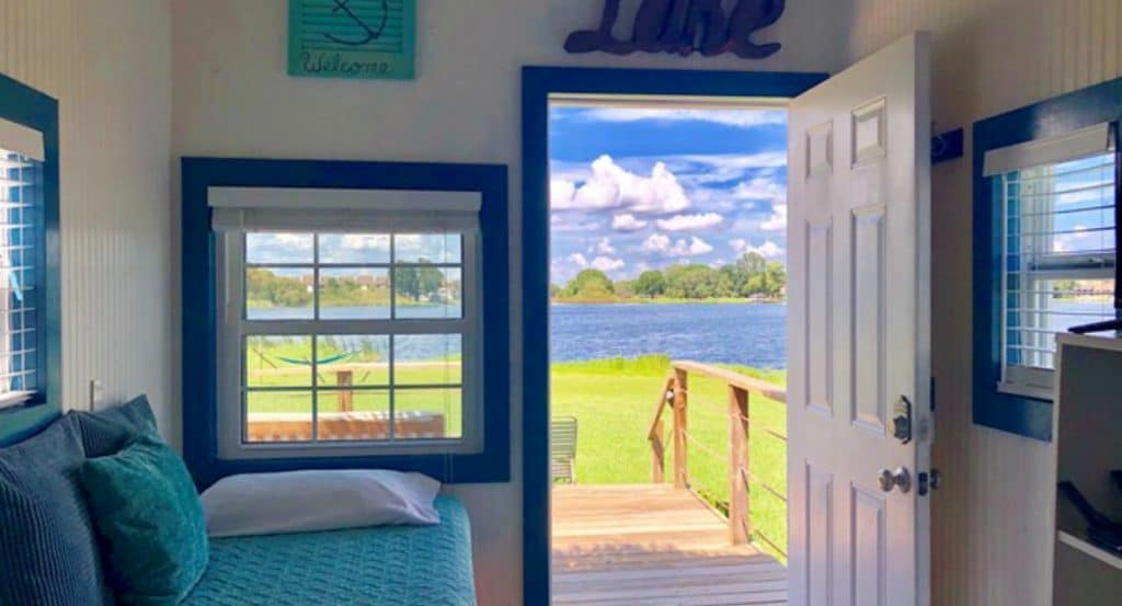 Front door and window of tiny home