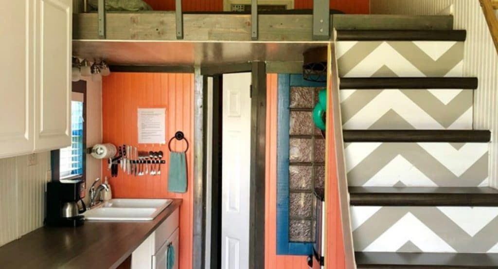 Stairs to tiny house loft