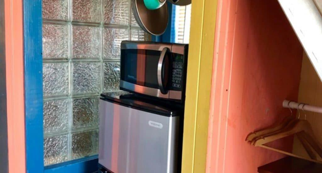 Microwave on dorm fridge