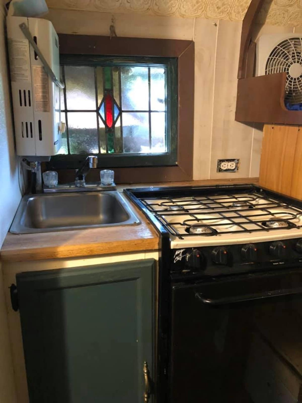 Gas stove and sink in camper