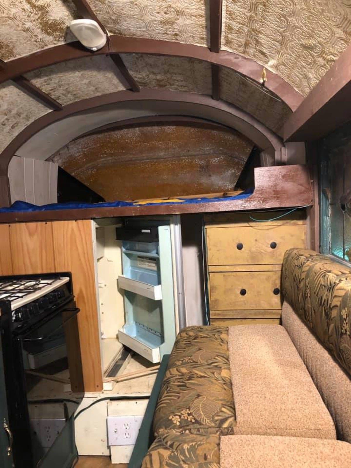 Couch and loft in truck camper