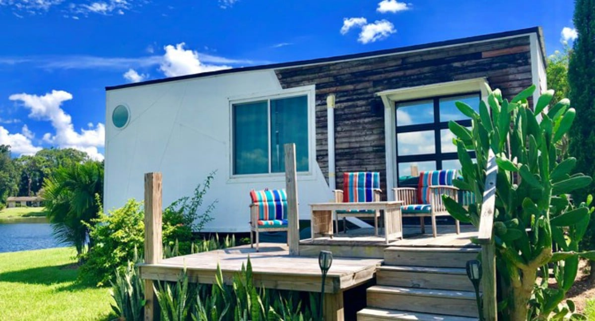 The Venice tiny home with bright blue sky
