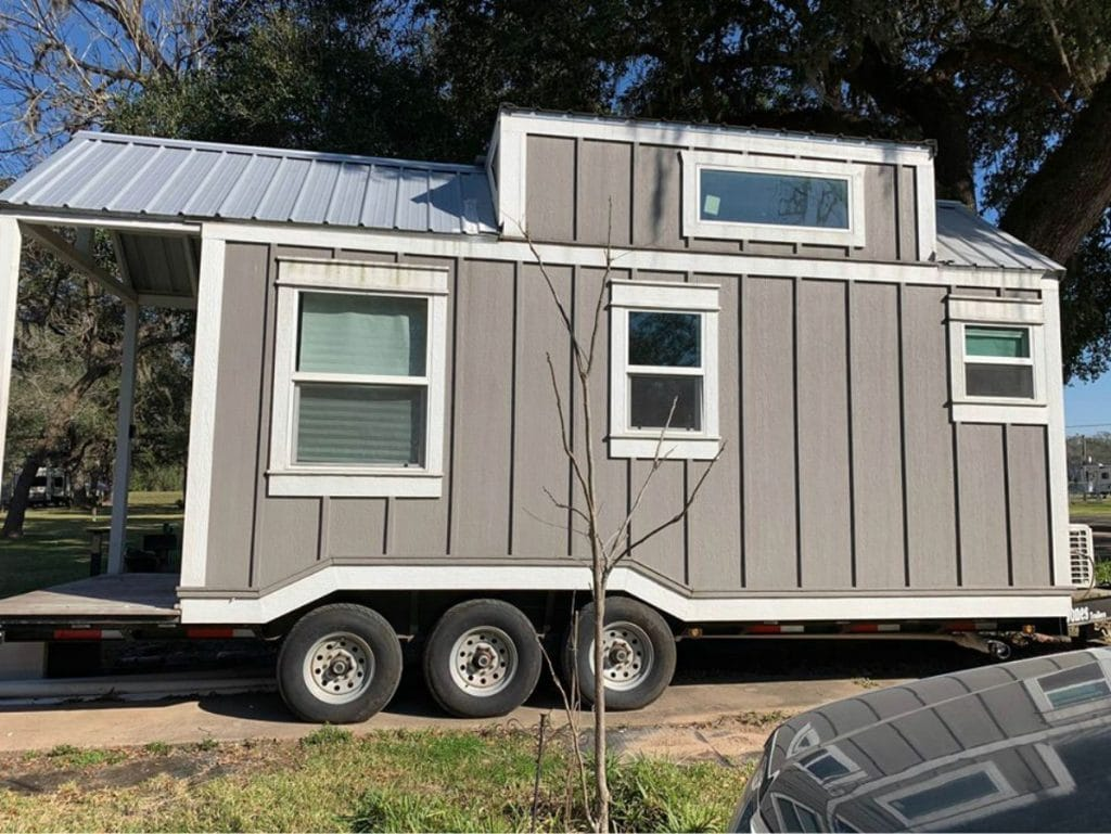 Side of tiny house on wheels