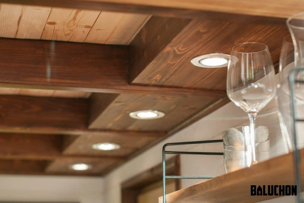 Wood framed recessed lighting