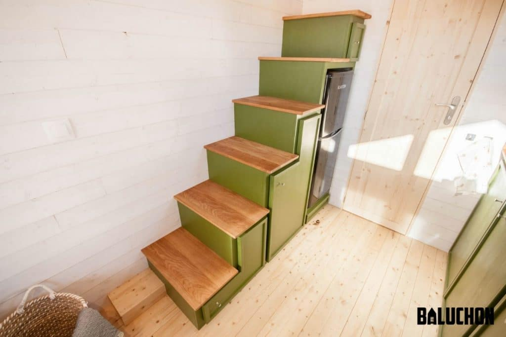 Green stairs to loft