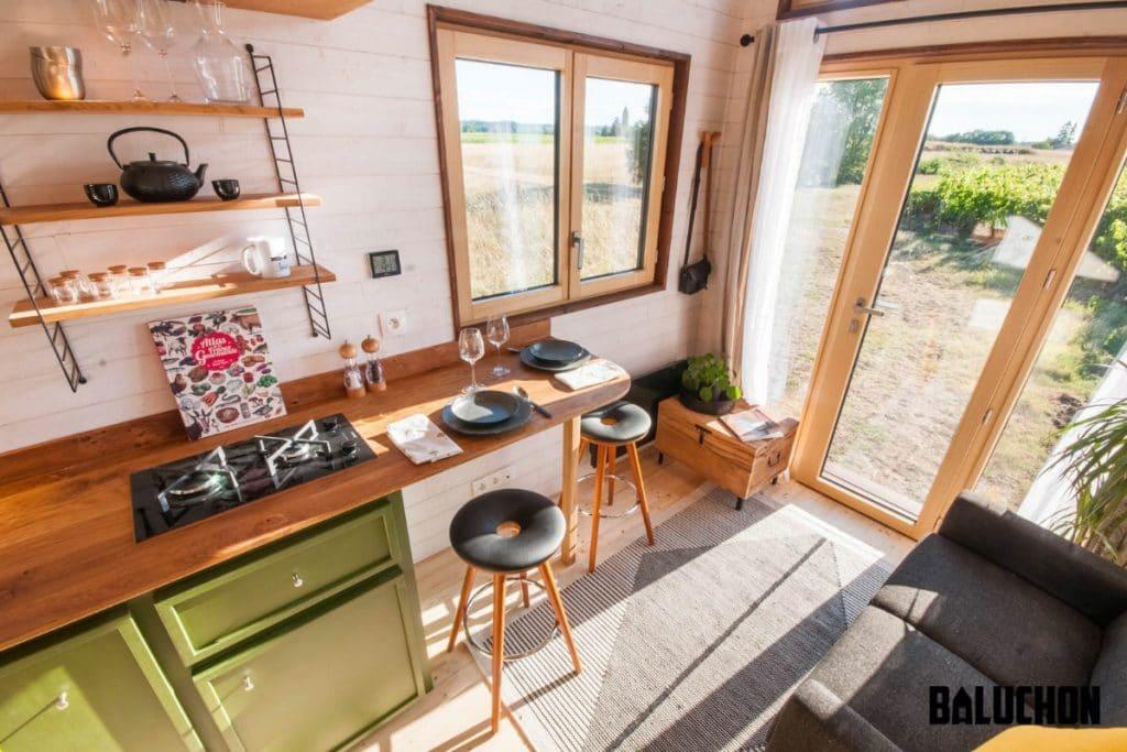Kitchen counter and bar stools