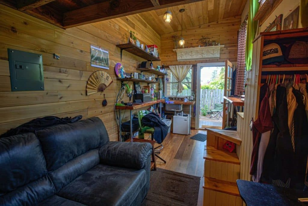 Living space in iron eagle tiny home