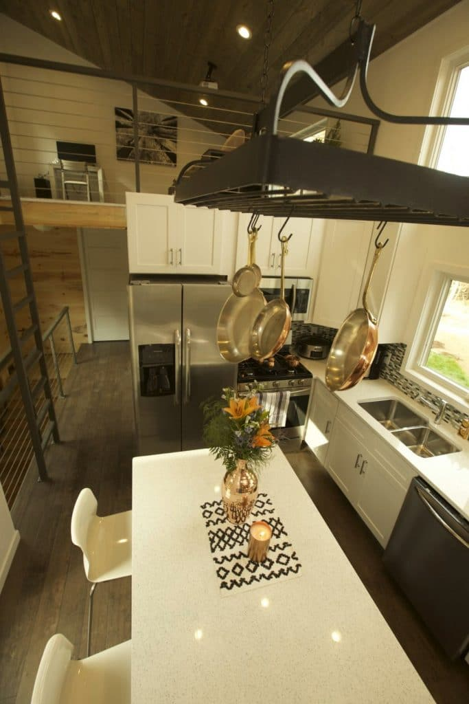 Kitchen overhead hanging pans