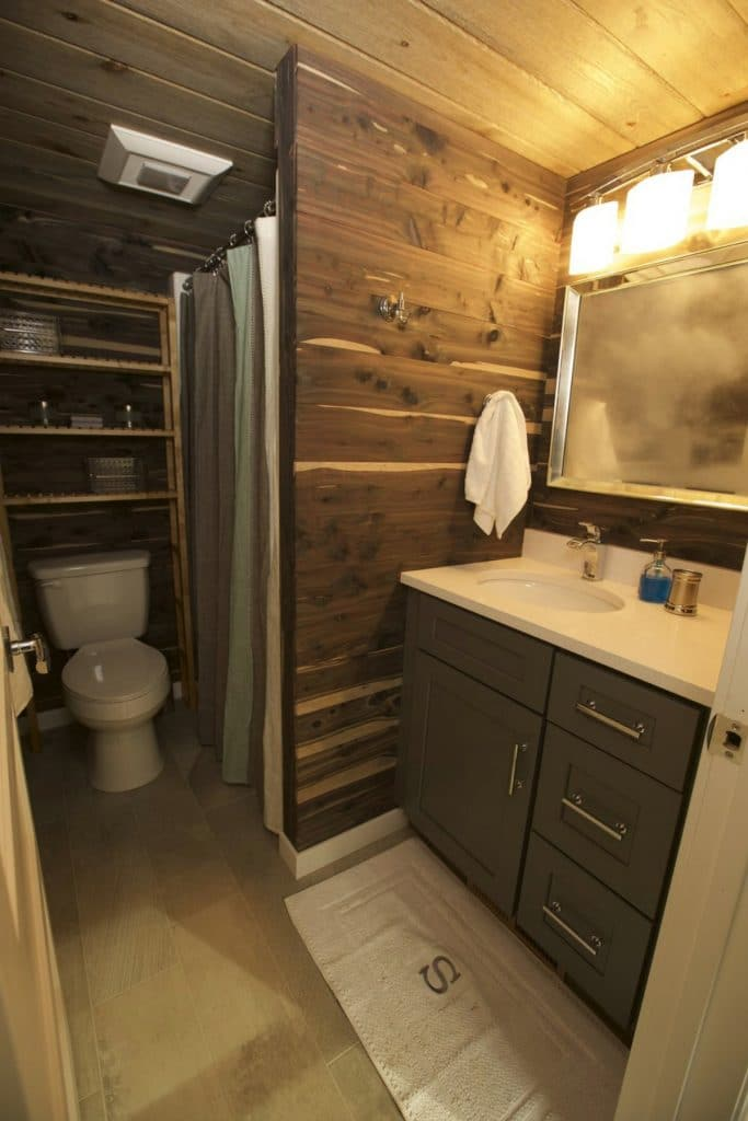The Fairchild bathroom with wood walls