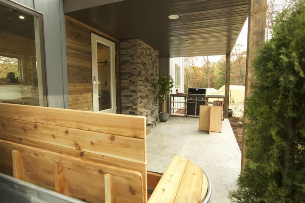 Front porch on the Fairchild tiny home