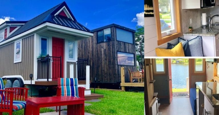 Lakeside Retreat tiny house collage
