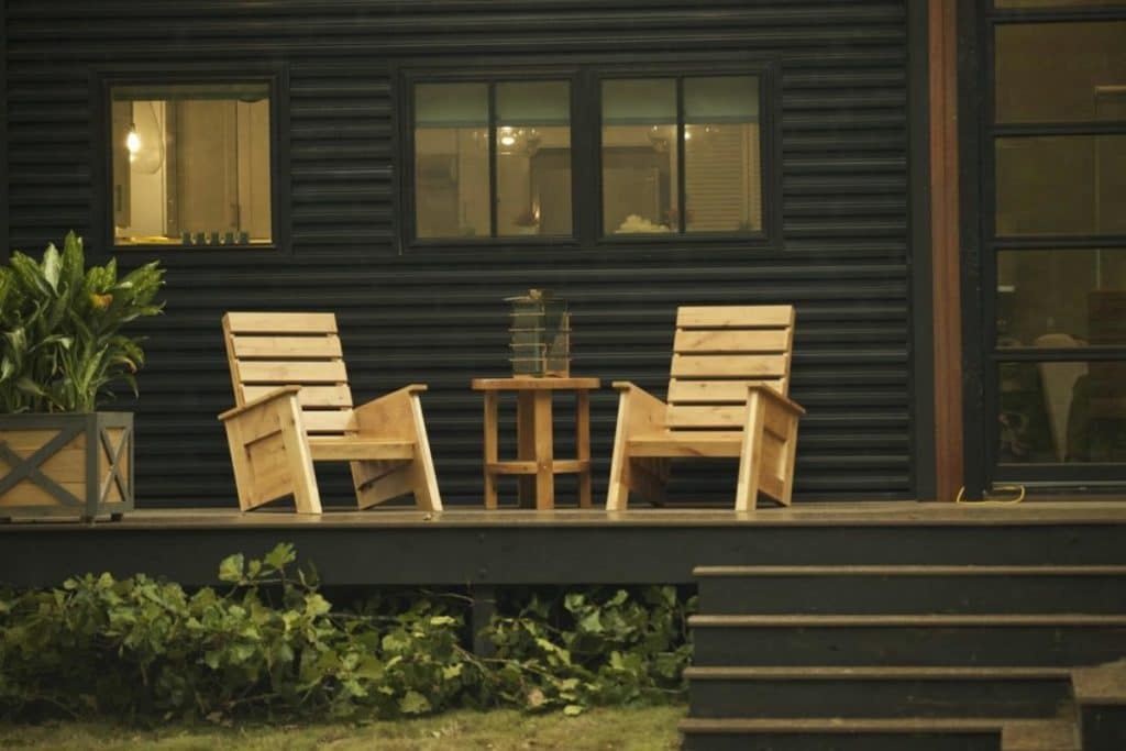 Rocking chairs on tiny house porch