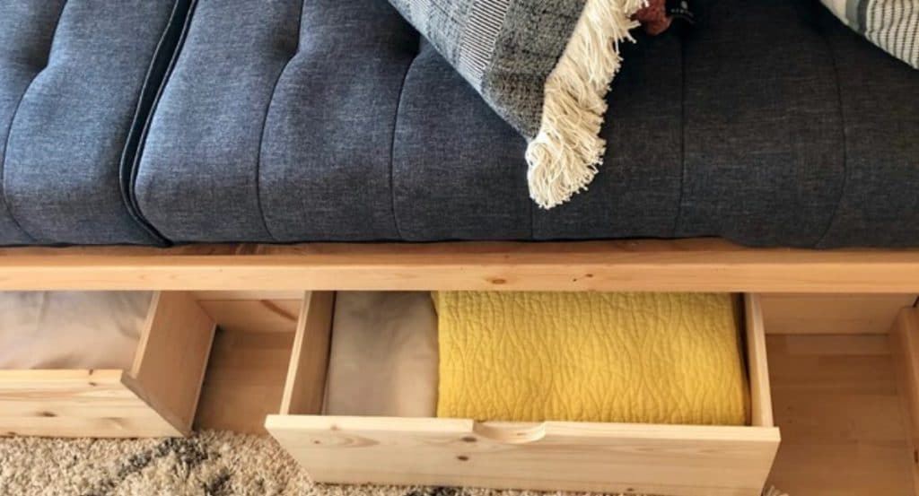 Drawers under sofa for storage