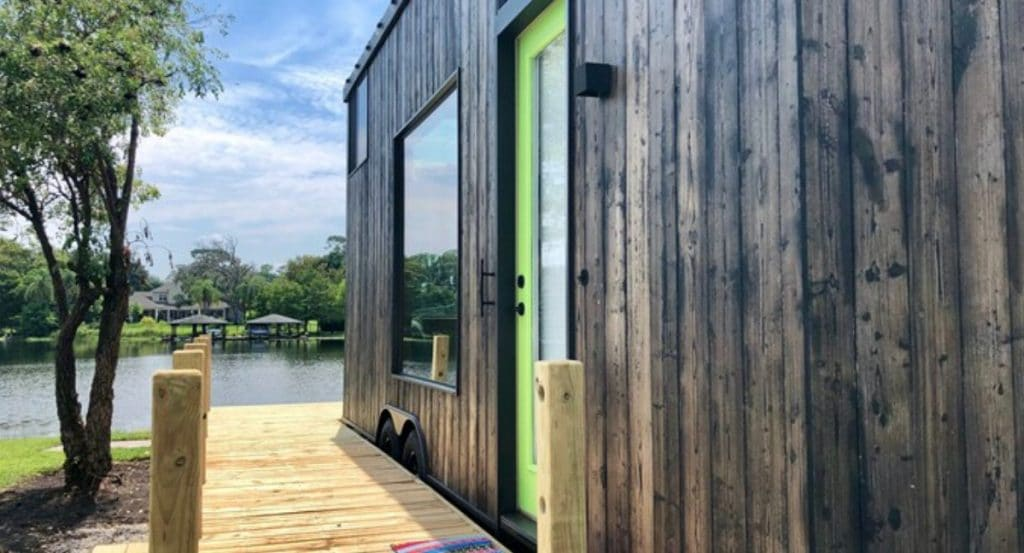 Green door on tiny home