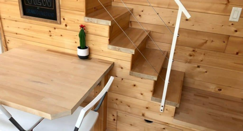 Table by loft stairs
