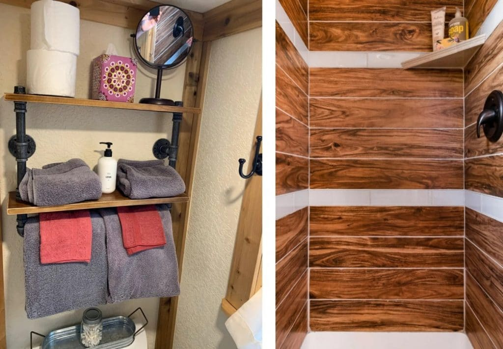 Wood lined shower