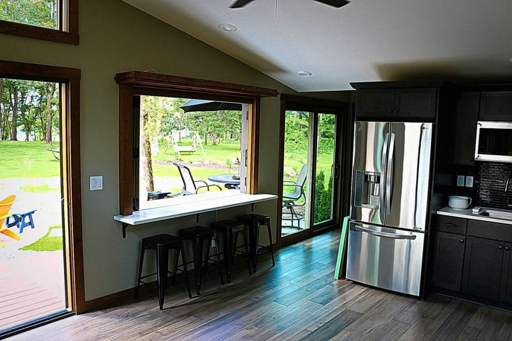 Window table and seats in tiny home