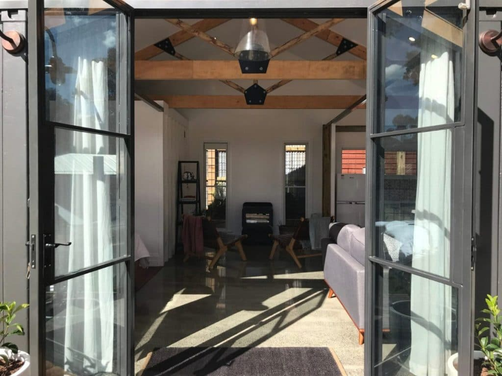 French doors of container home