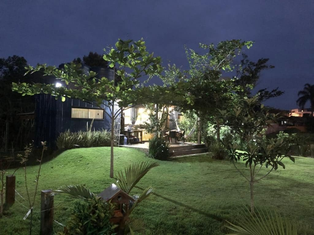 Brazilian container home after dark